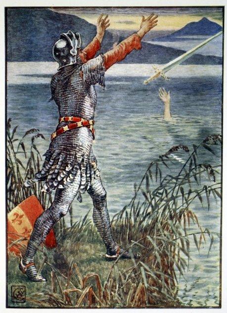 Sir Bedivere lancia excalibur nel lago