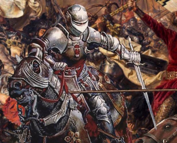 Cavaliere Medievale a cavallo in battaglia