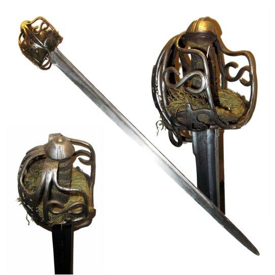 claymore scozzese a mano singola guardia a cesto highlander