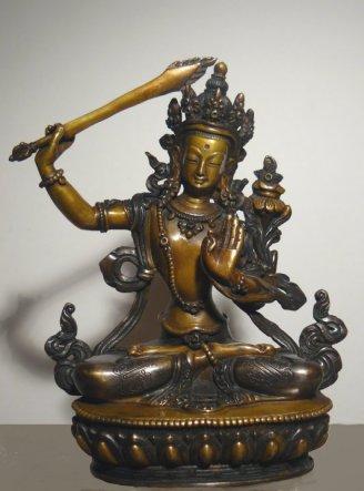 statua statuetta bodhisattva manjusri wenshu