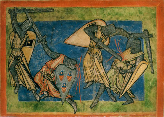 battaglia medievale cavalieri armatura elmo falcione
