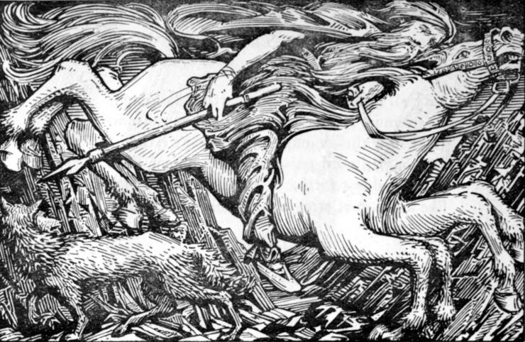 Odino cavalca a Hel babbo natale la spada perfetta