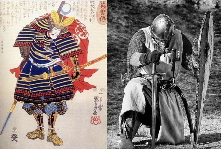 samurai katana vs cavaliere medievale spada a due mani