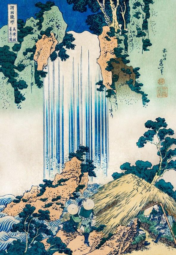 hokusai dipinto di cascata giapponese