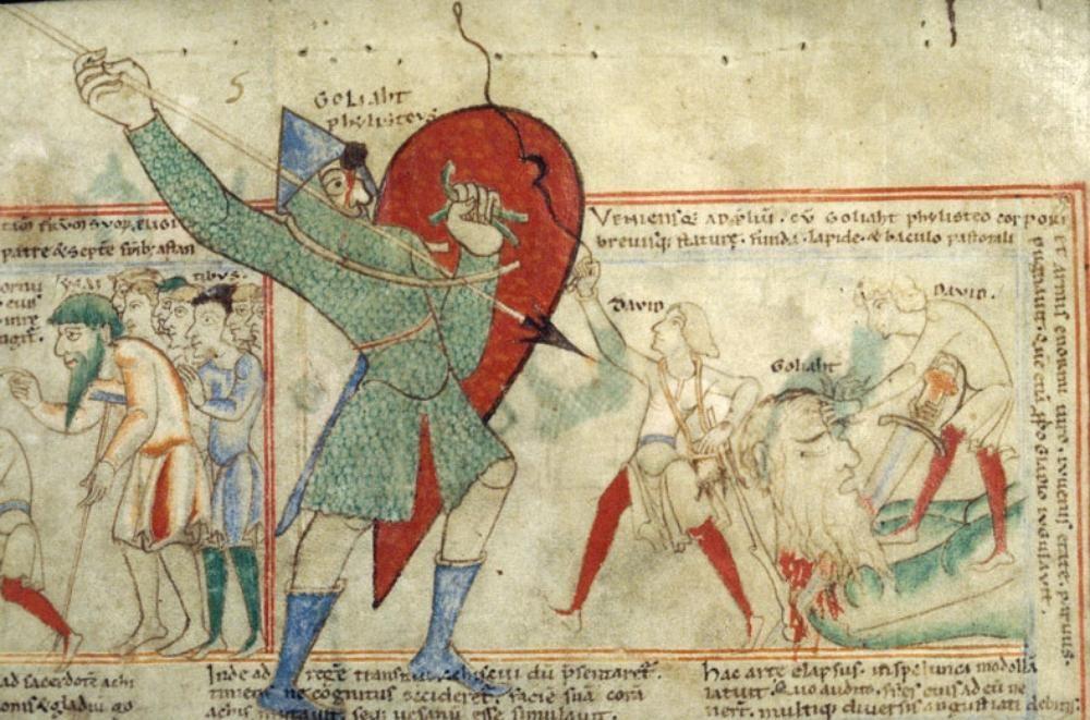 davide e golia manoscritto medievale